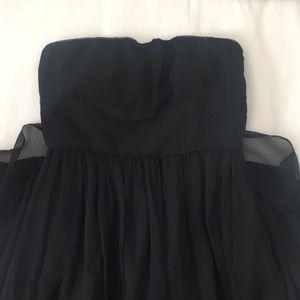 J. Crew Black Strapless Silk Dress 0